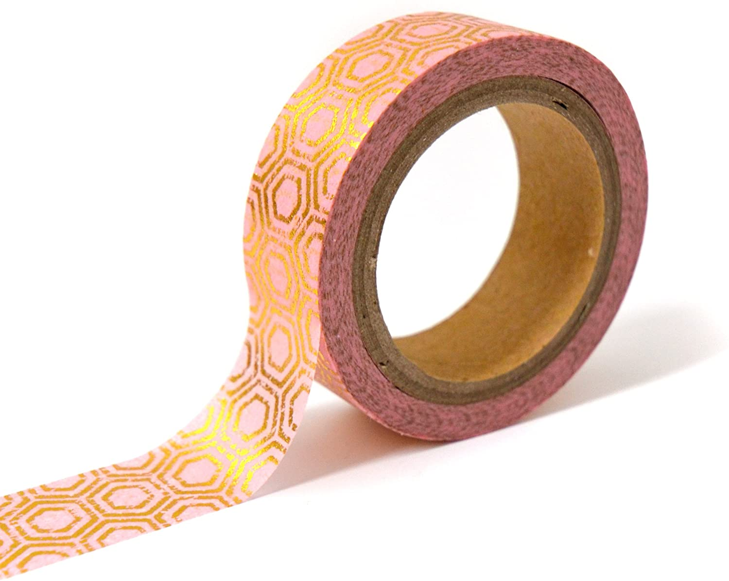 Masking tape hexagones or/rose