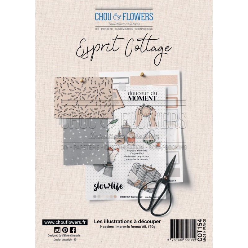 CHOU & FLOWERS  - Esprit Cottage Planches d'illustrations