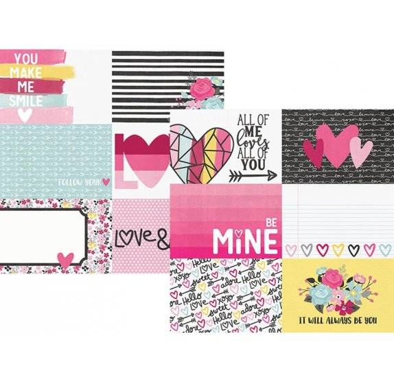 LOVE & ADORE - 4 x 6 Horizontal Journaling Card Elements - Pack de 25
