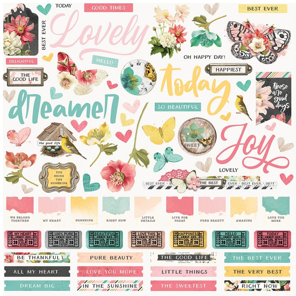 SIMPLE STORIES - Simple vintage cottage fields STICKERS